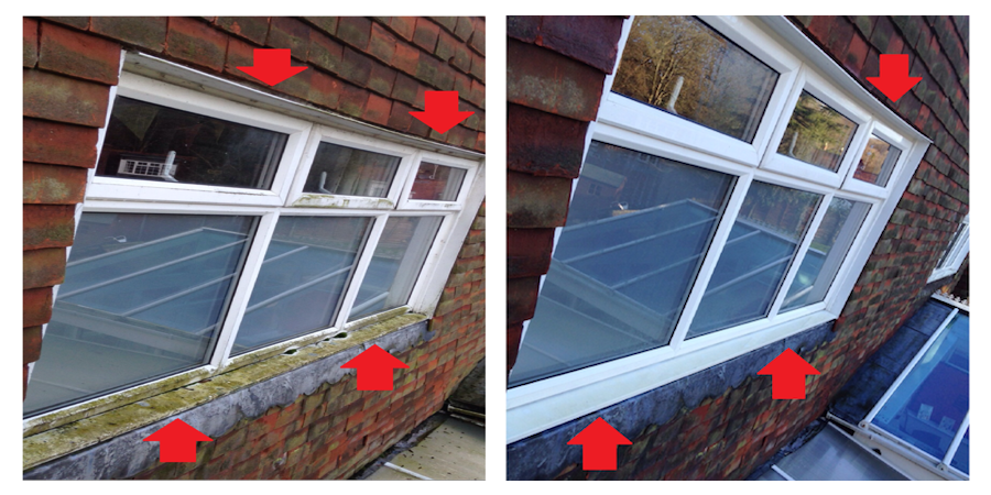 Frames and sills, before and after